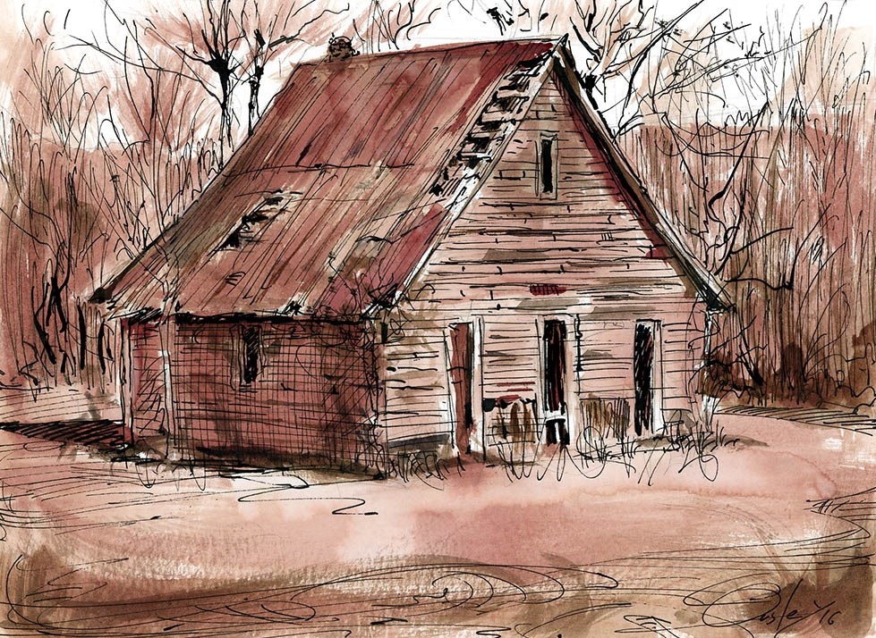 """""""Smokehouse or Old Home in Tennessee"""" original fine art by Chris Ousley"""