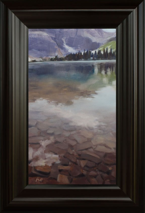 """Rocky Mountain Lake (framed)"" original fine art by Pamela Poll"