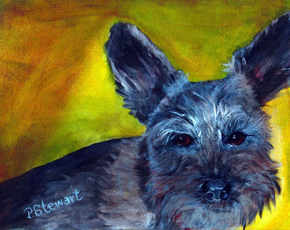 """Lucki, The Schnauzer with the unclipped ears."" original fine art by Penny Lee StewArt"