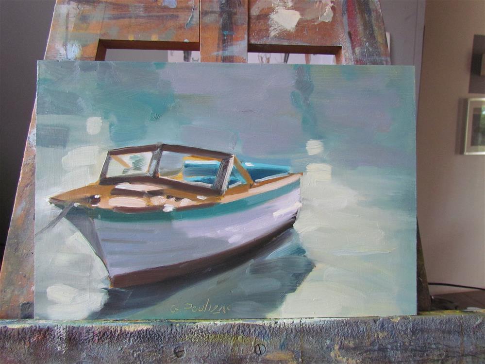"""wood boat"" original fine art by gilles Poulizac"