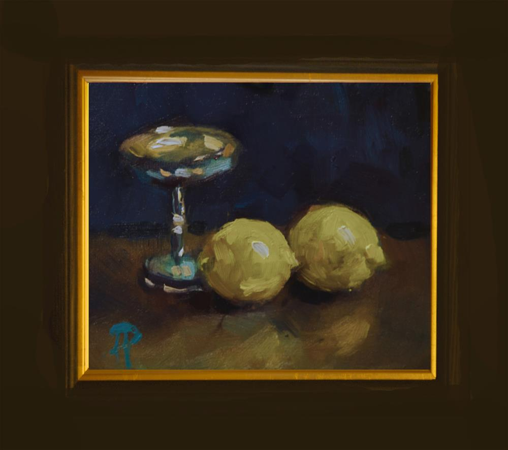 """Two Lemons and Silver Cup"" original fine art by Andre Pallat"