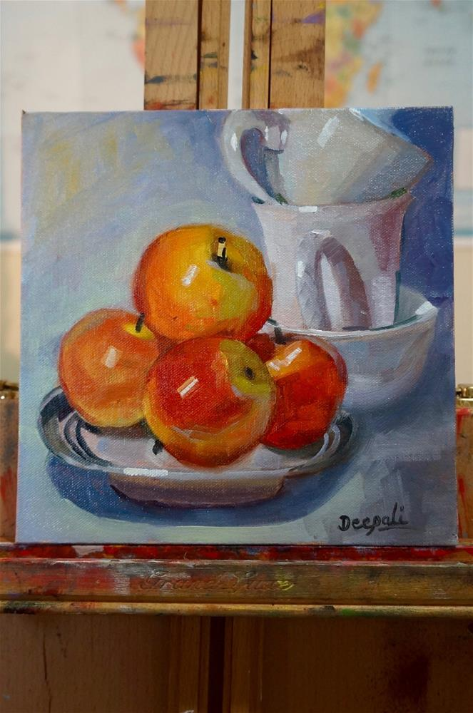 """Apples with stacked cups"" original fine art by Dipali Rabadiya"