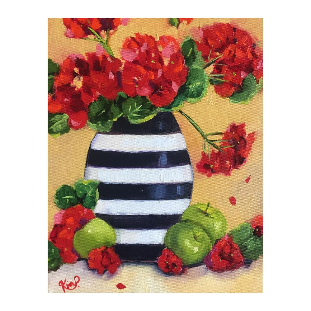 """Red Geraniums with green apples in black and white stripe vase "" original fine art by Kim Peterson"