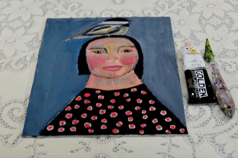 """""""Birdy on Her Head No 9"""" original fine art by Katie Jeanne Wood"""
