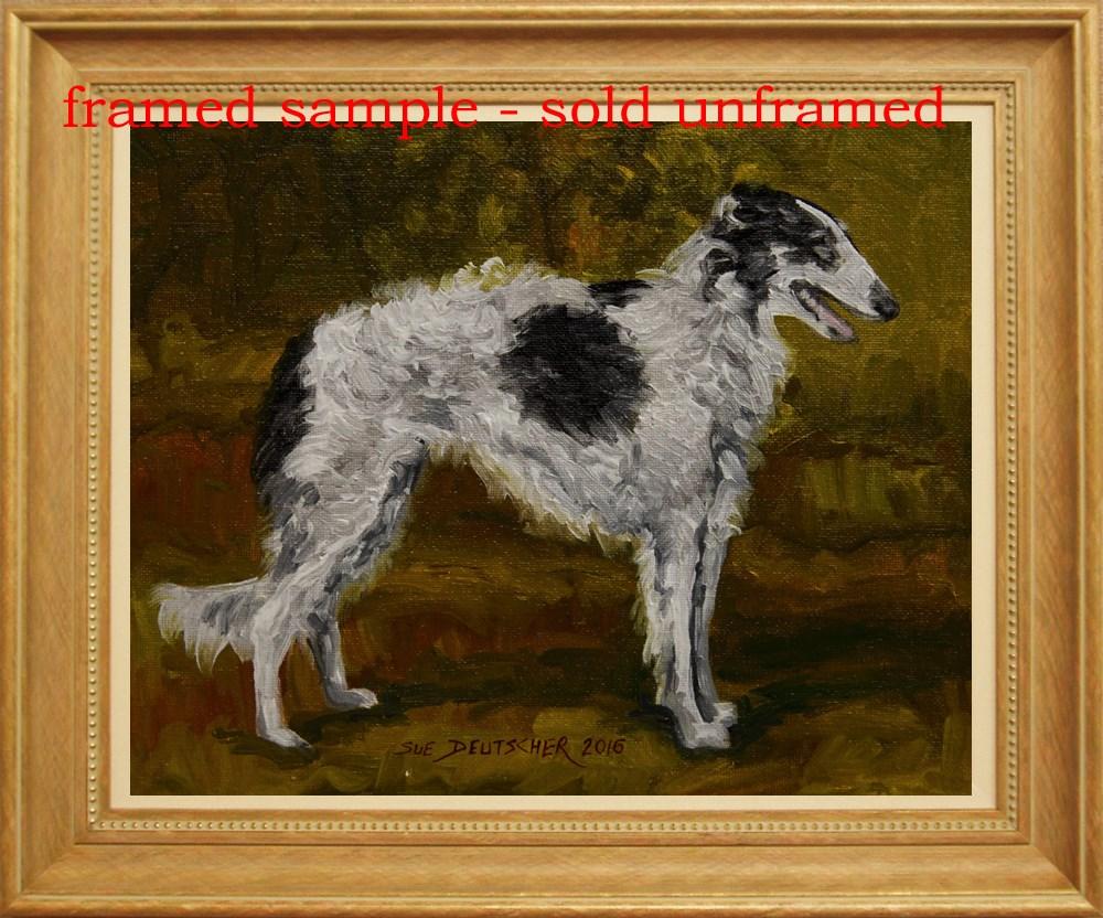 """""""Borzoi with Black Spot"""" original fine art by Sue Deutscher"""