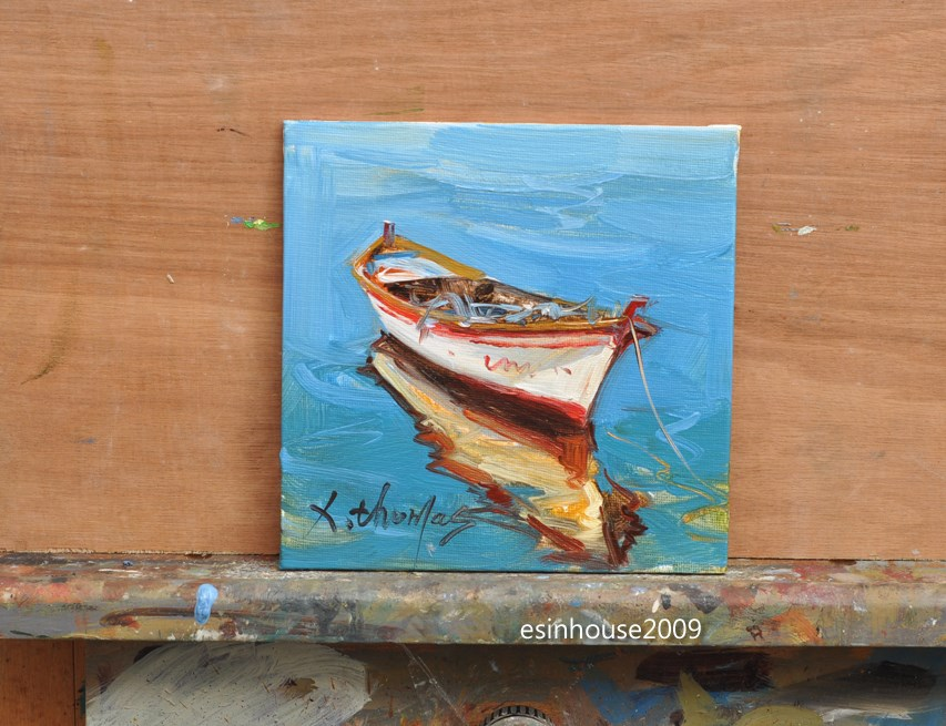 """A boat The ship sailing Sea view Original oil Painting on canvas panel"" original fine art by Thomas Xie"