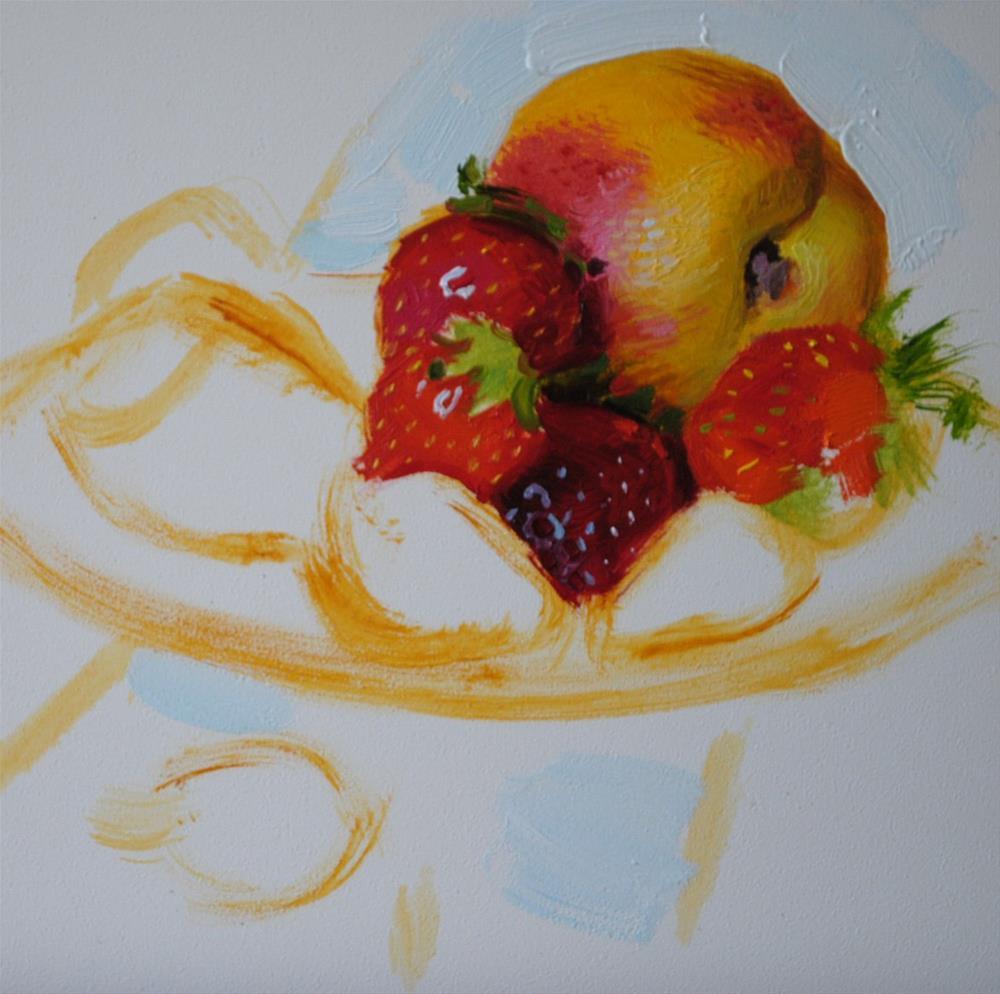 """Strawberry Plate"" original fine art by Elena Katsyura"