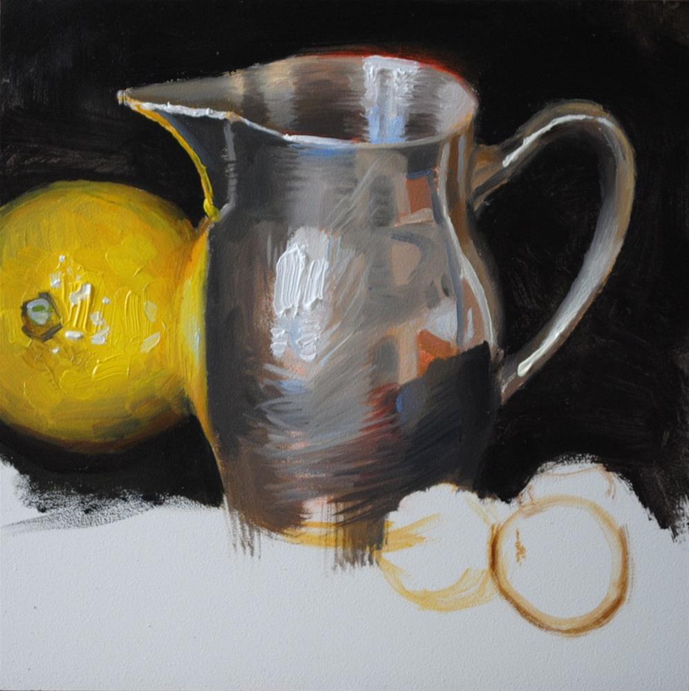 """Silver, Lemon, Grapes"" original fine art by Elena Katsyura"