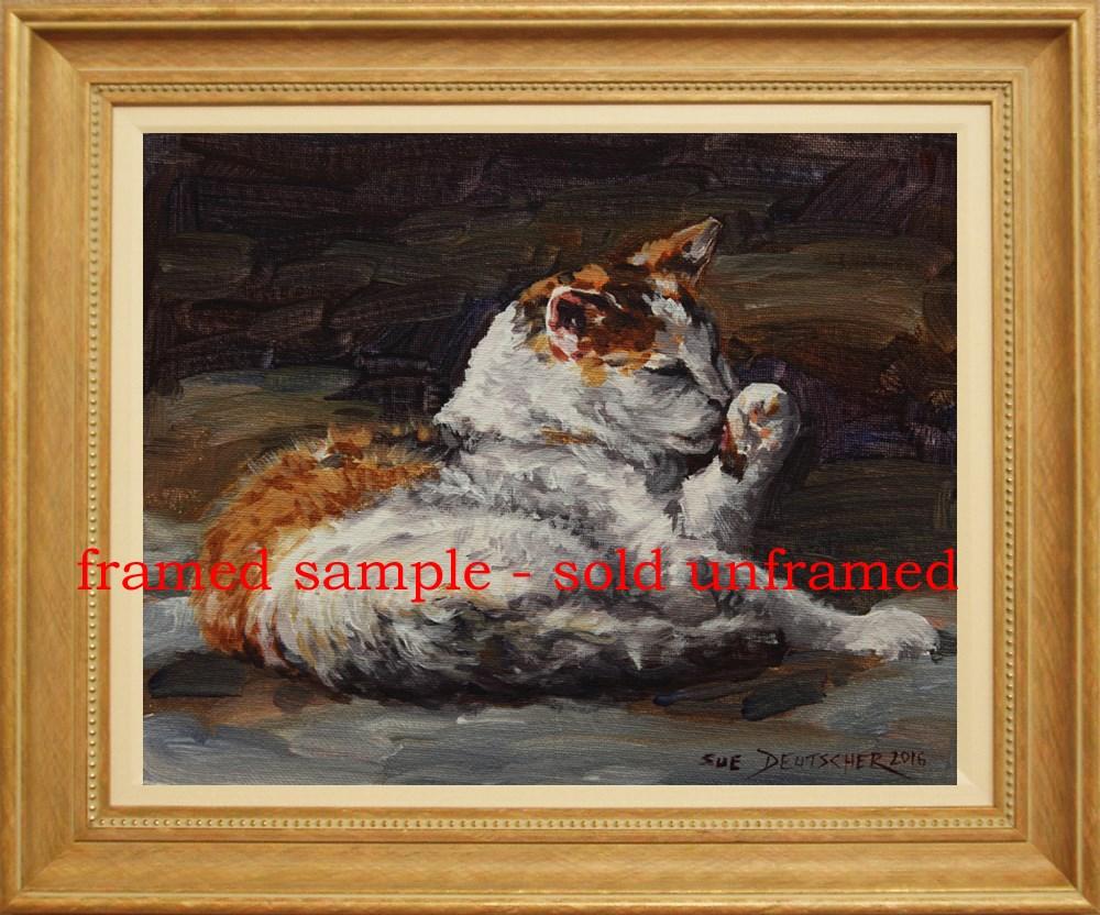 """""""Calico Cat Licking Paw"""" original fine art by Sue Deutscher"""