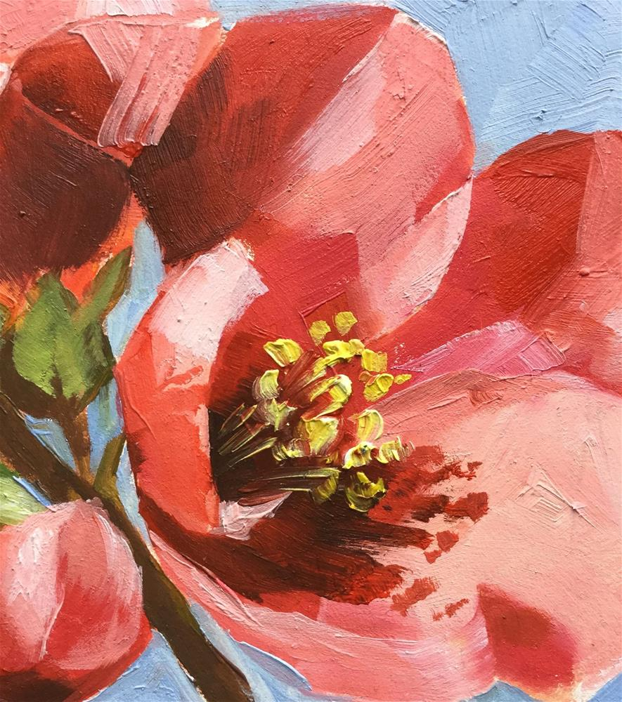 """4 x4 inch small oil painting on gesso board summer blooming quince flowers under sky"" original fine art by Hui (Hue) Li"