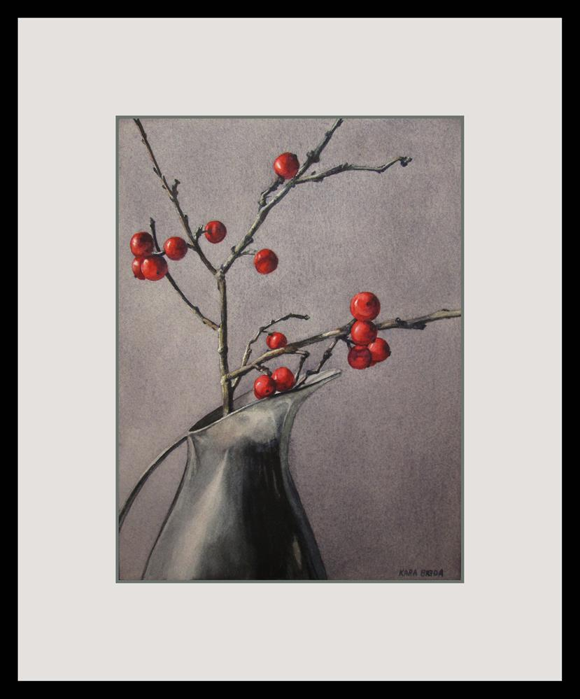 """Winterberries"" original fine art by Kara K. Bigda"