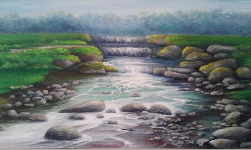 """Waterfall River Rocks"" original fine art by Camille Morgan"
