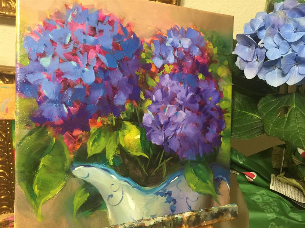 """Breaking Color Records and DewDrop Blue Hydrangeas"" original fine art by Nancy Medina"