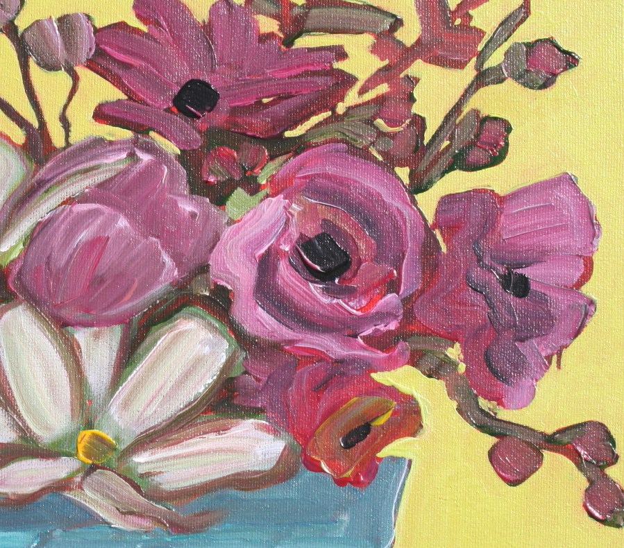 """Flowers with Yellow"" original fine art by Sage Mountain"