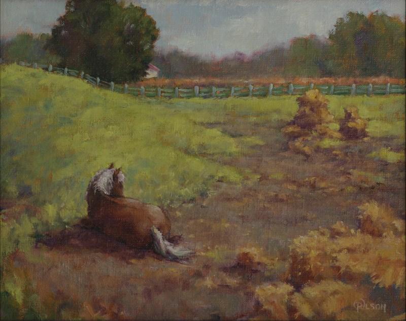 """""""pony in repose"""" original fine art by Priscilla Olson"""