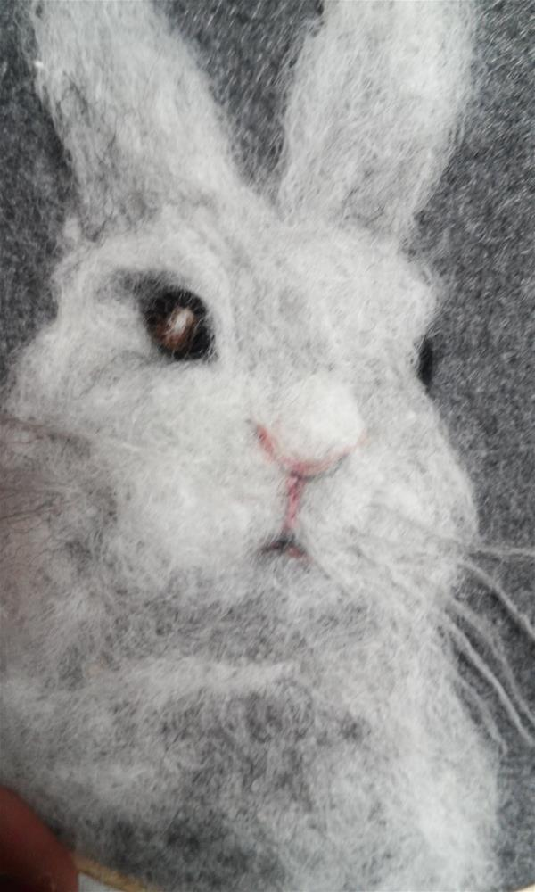 """White Bunny "" original fine art by Camille Morgan"