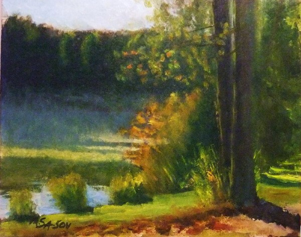 """Lakeside, early morning - 3 months later"" original fine art by Michael Sason"
