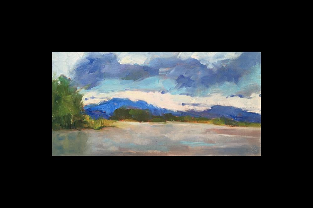 """Rain Clouds over the Reservoir"" original fine art by Victoria  Biedron"