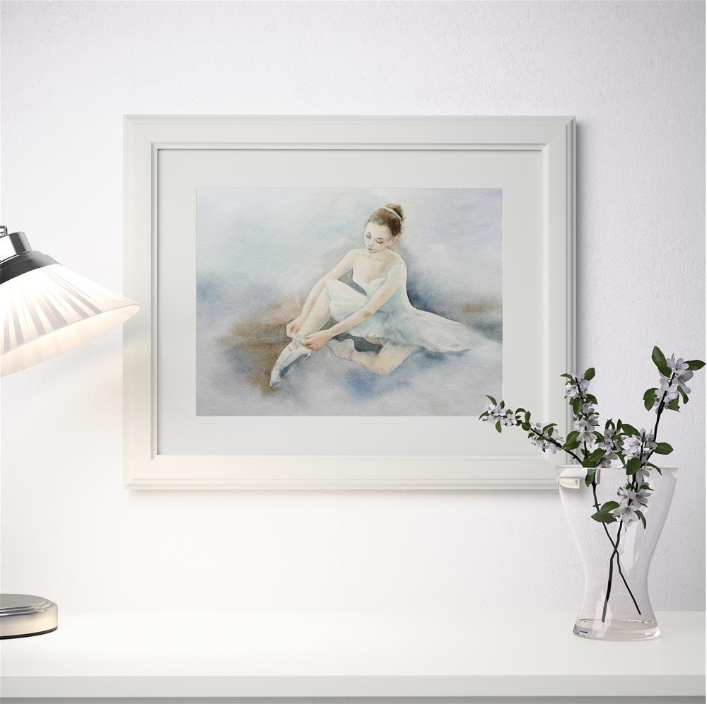 """Young ballerina tying her slippers before performance"" original fine art by Olga Beliaeva"