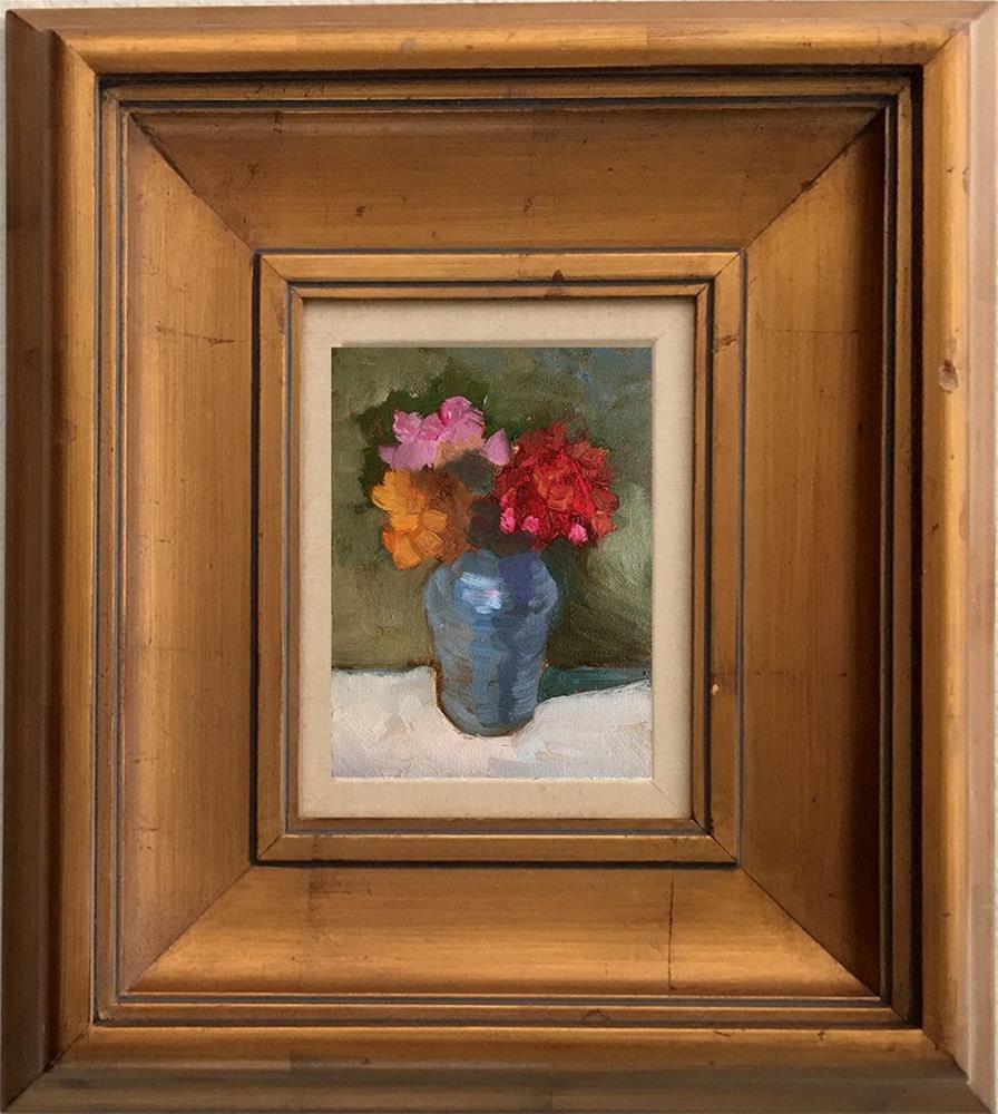 """zinnias"" original fine art by Sally Rosenbaum"