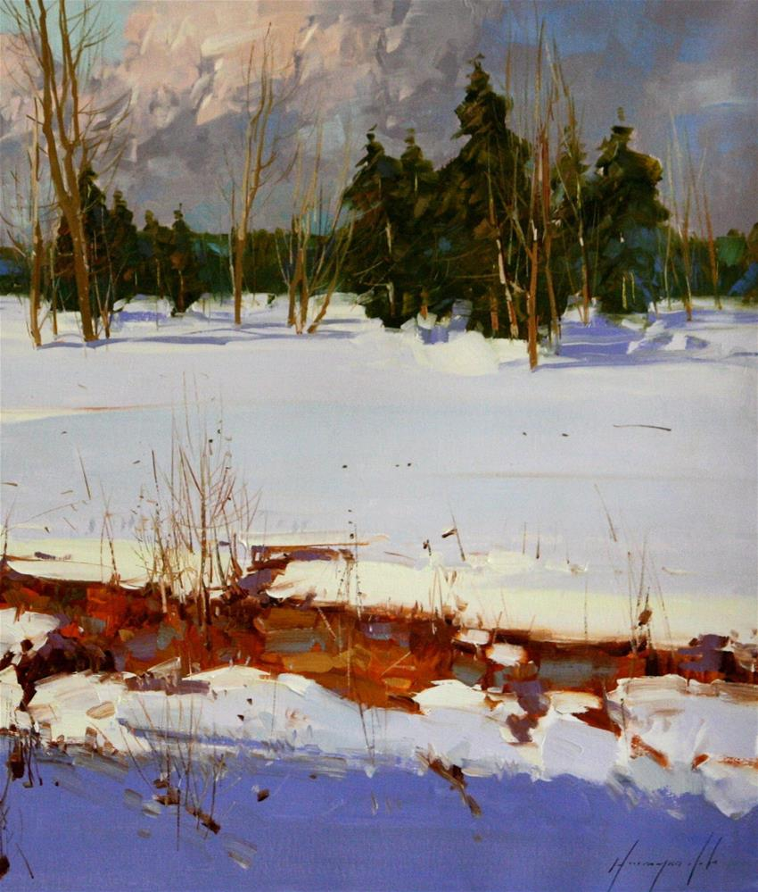 """SNOW COVERED MEADOW ORIGINAL OIL PAINTING LARGE SIZE LANDSCAPE PAINTING"" original fine art by V Yeremyan"