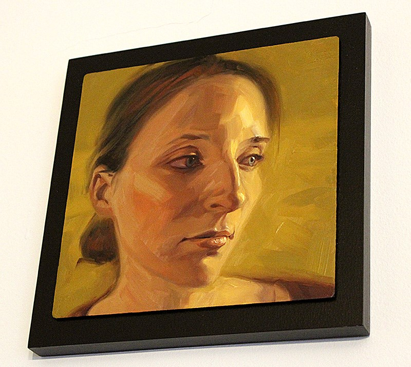 """Girl on Yellow"" original fine art by Rob  Rey"