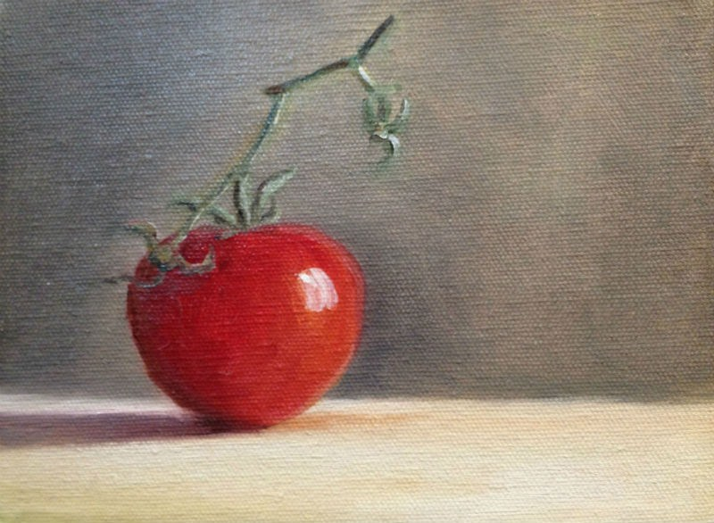 """One Tomato"" original fine art by Judith Anderson"