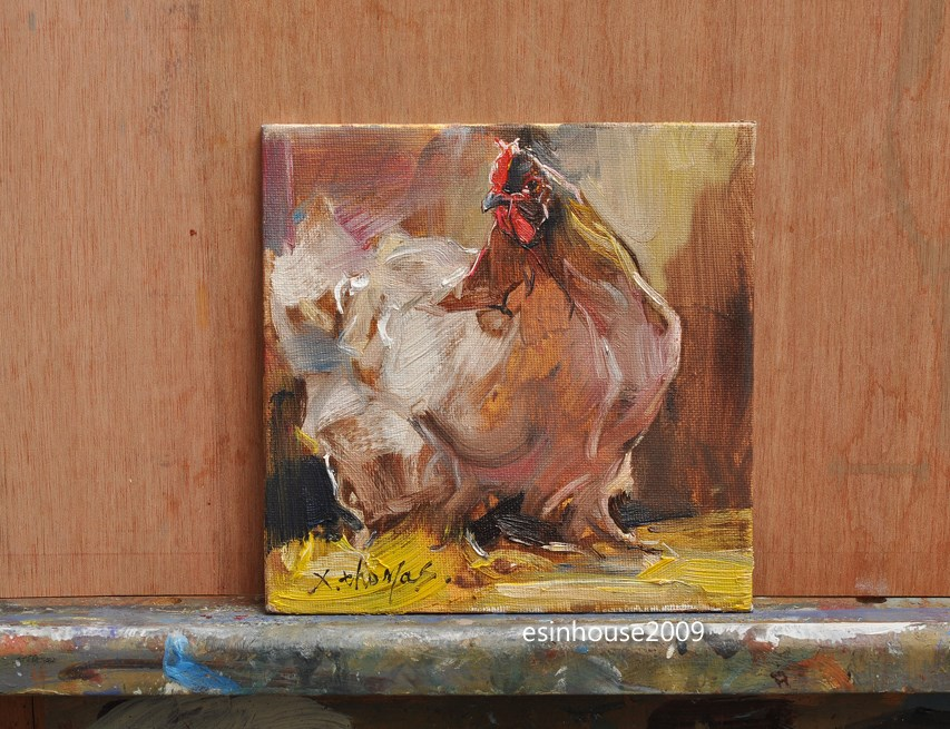 """Rooster Art Chicken Hen Barn Original Oil canvas panel Painting"" original fine art by Thomas Xie"