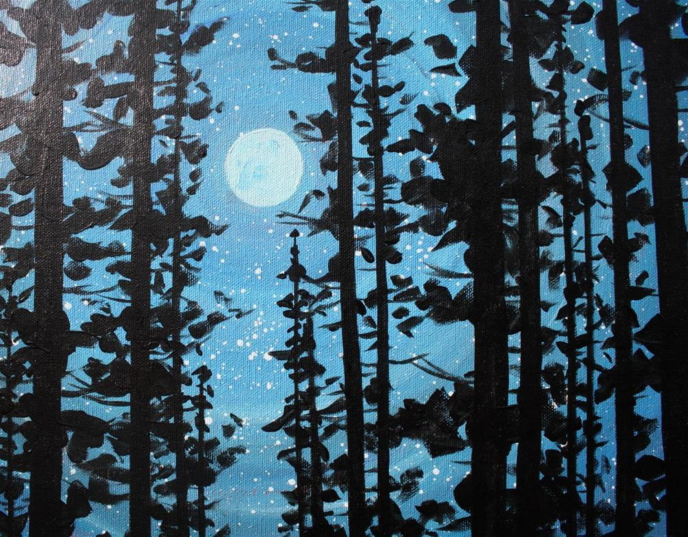 """Night Moon with Mountains"" original fine art by Sage Mountain"