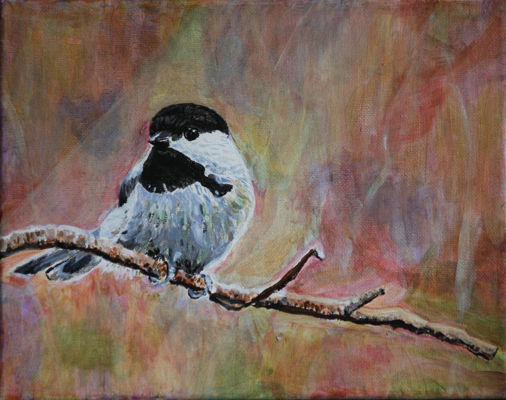 """Chickadee in Early Spring"" original fine art by Terri-Anne Barge"