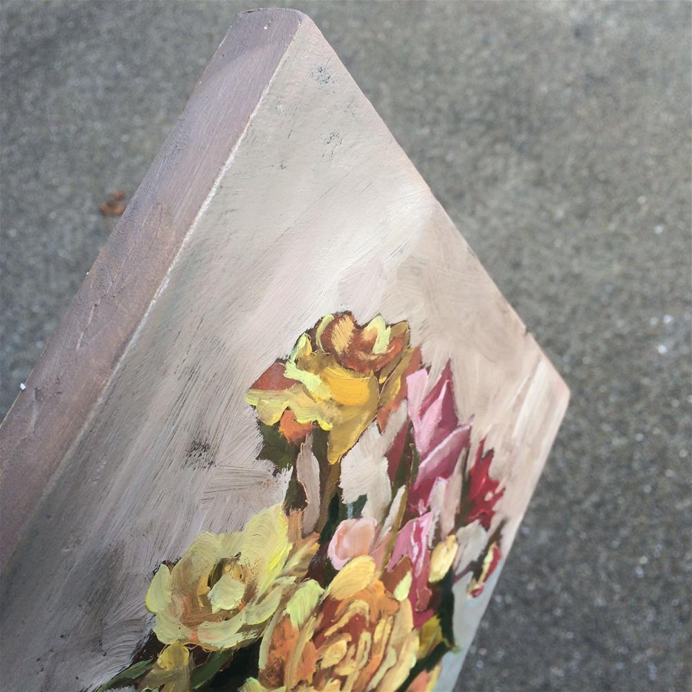 """""""dahlias, roses, zinnias"""" original fine art by Leslie Miller"""