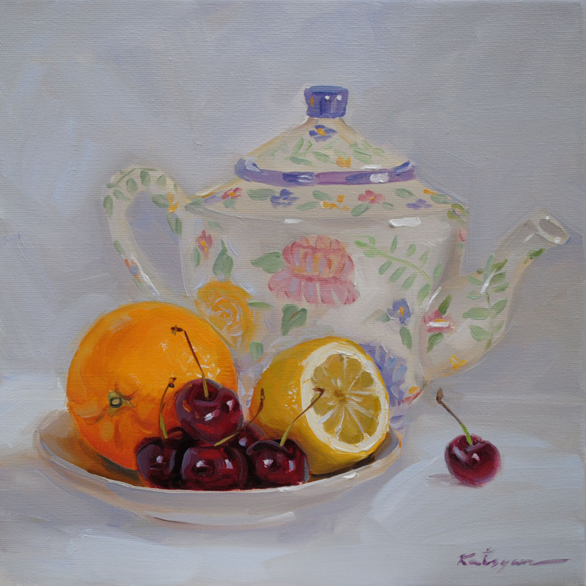 """Fruit & Teapot"" original fine art by Elena Katsyura"