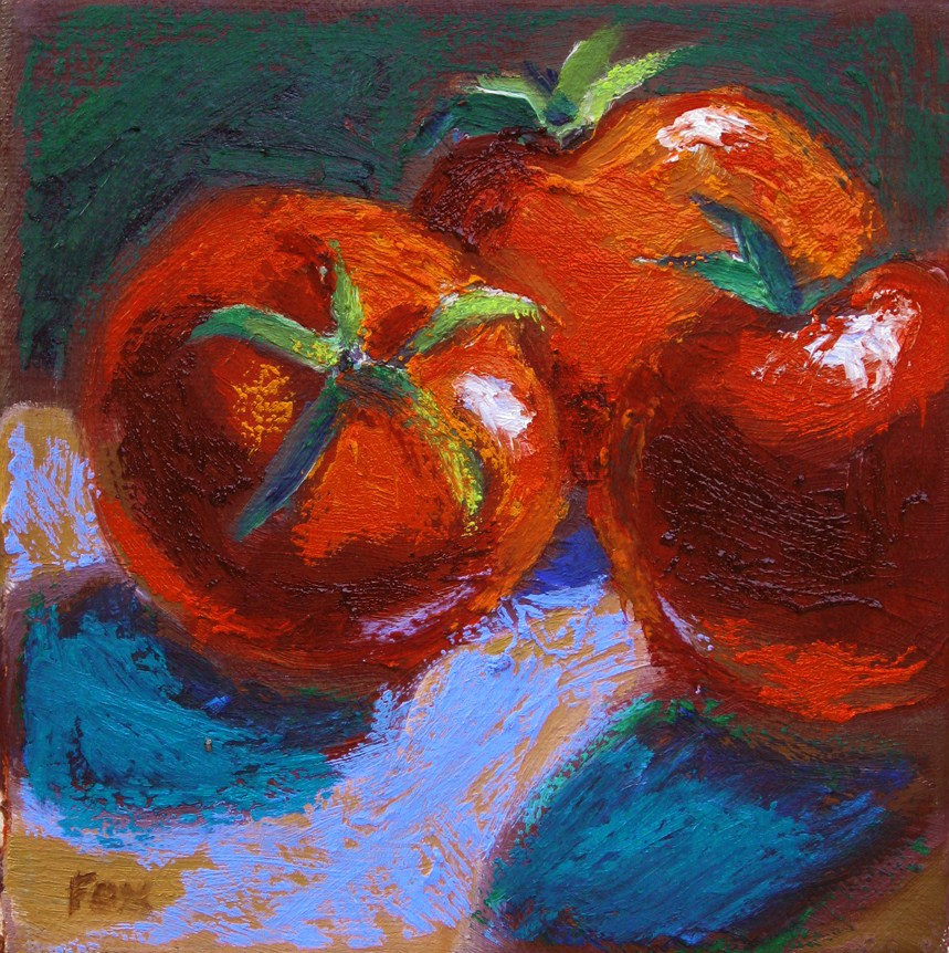 """Three Tomatoes, a still life oil painting of fruit and vegetables, food"" original fine art by Marie Fox"