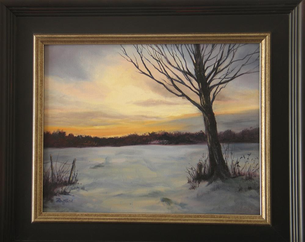 """Snowy Field at Sunset"" original fine art by Vikki Bouffard"