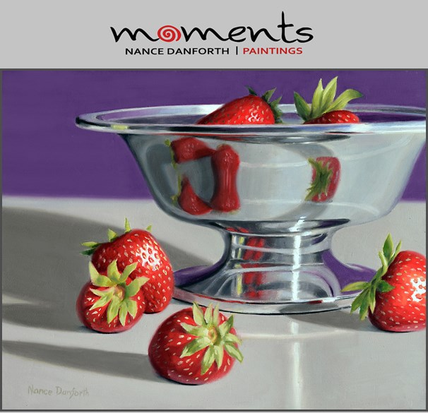 """Silver Bowl with Strawberries"" original fine art by Nance Danforth"