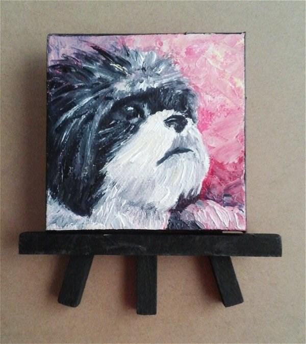 """Mini Oil Painting Dog Shih Tzu Pet Portrait"" original fine art by Camille Morgan"