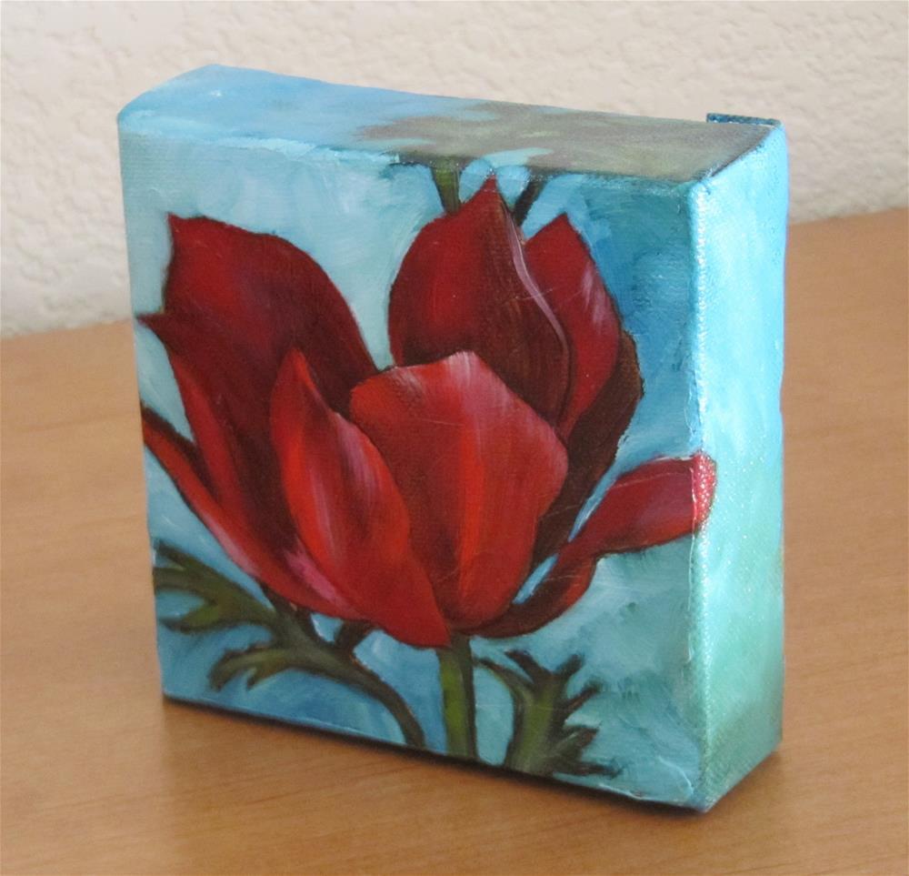 """Flora in Red"" original fine art by Mary Van Deman"