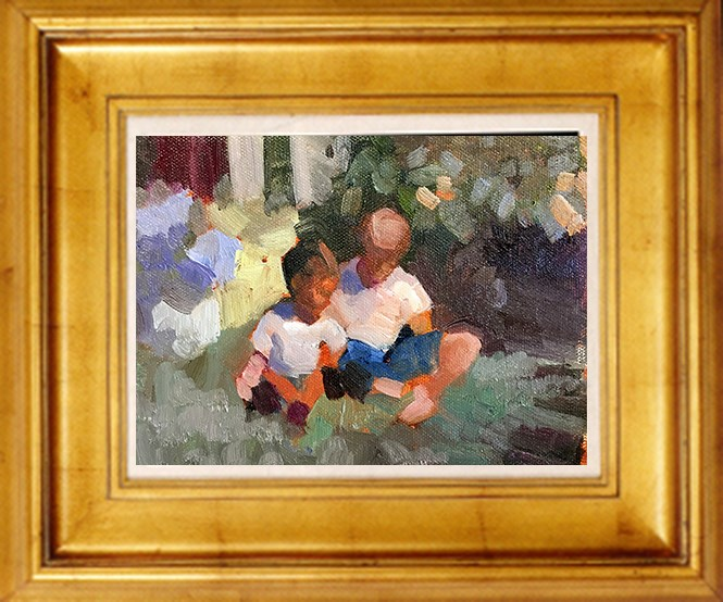 """Two little brothers"" original fine art by Sally Rosenbaum"