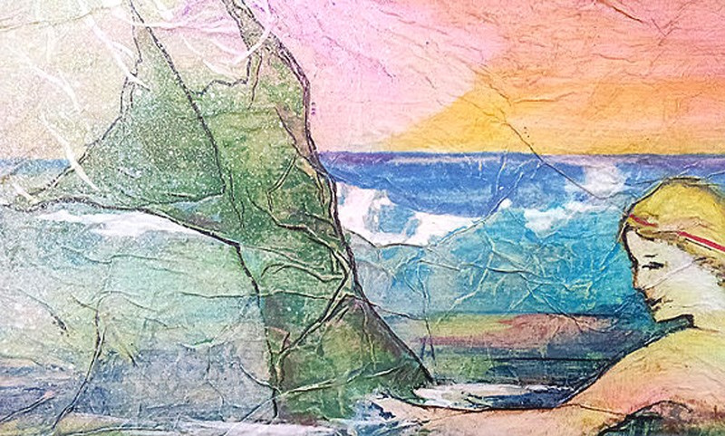 """Zen Inspired Mermaid Watercolor on Tissue"" original fine art by lynne french"