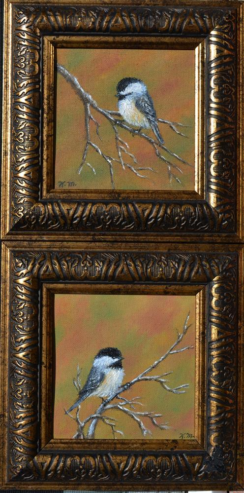 """Autumn Chickadees - Bird 2"" original fine art by Kathleen McDermott"