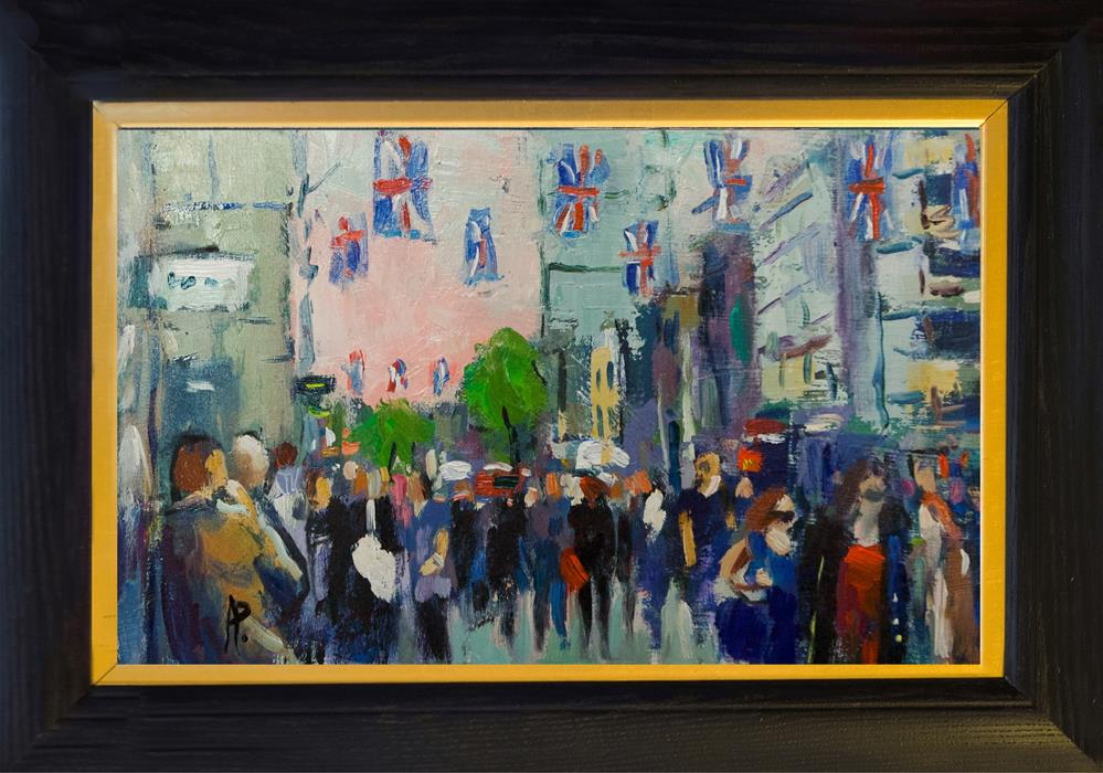 """Oxford Street with Flags"" original fine art by Andre Pallat"