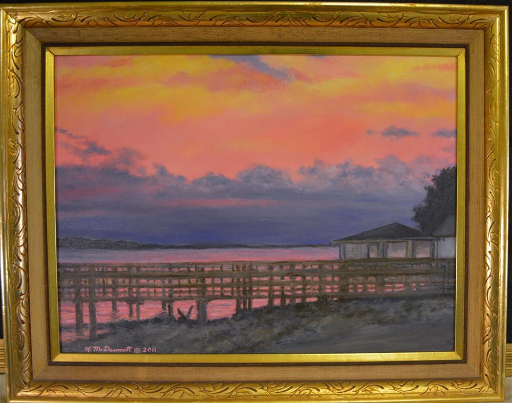 """""""NIGHT SKY OVER LAKE MARION"""" original fine art by Kathleen McDermott"""