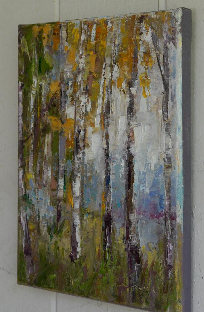 """Birch tree by the lake"" original fine art by Sun Sohovich"