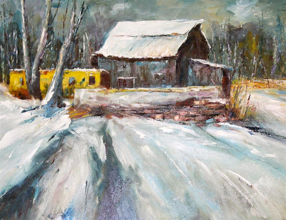"""Original oil winter snow barn landscape impressionism painting"" original fine art by Alice Harpel"