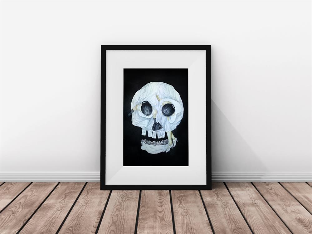 """Tarot Reader Girl - Optical Illusion Skull Portrait - Halloween"" original fine art by Olga Beliaeva"