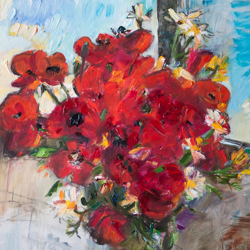 """Poppies and Daisies Flowers"" original fine art by Anna  Fine Art"