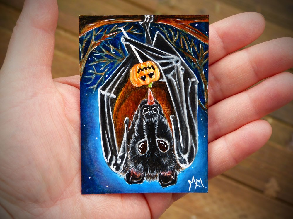 """Bat Candy"" original fine art by Monique Morin Matson"