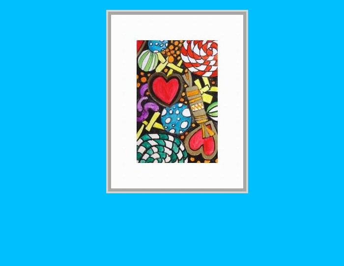 """""""6025 - Sweets for my Sweetie - Happy Heart II"""" original fine art by Sea Dean"""