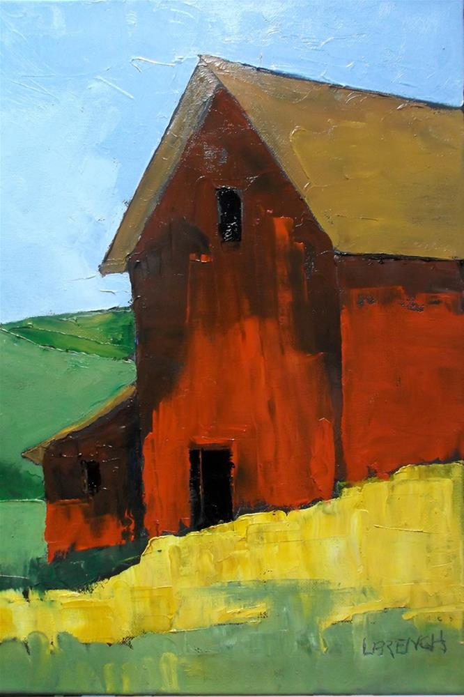 """Red Barn"" original fine art by lynne french"