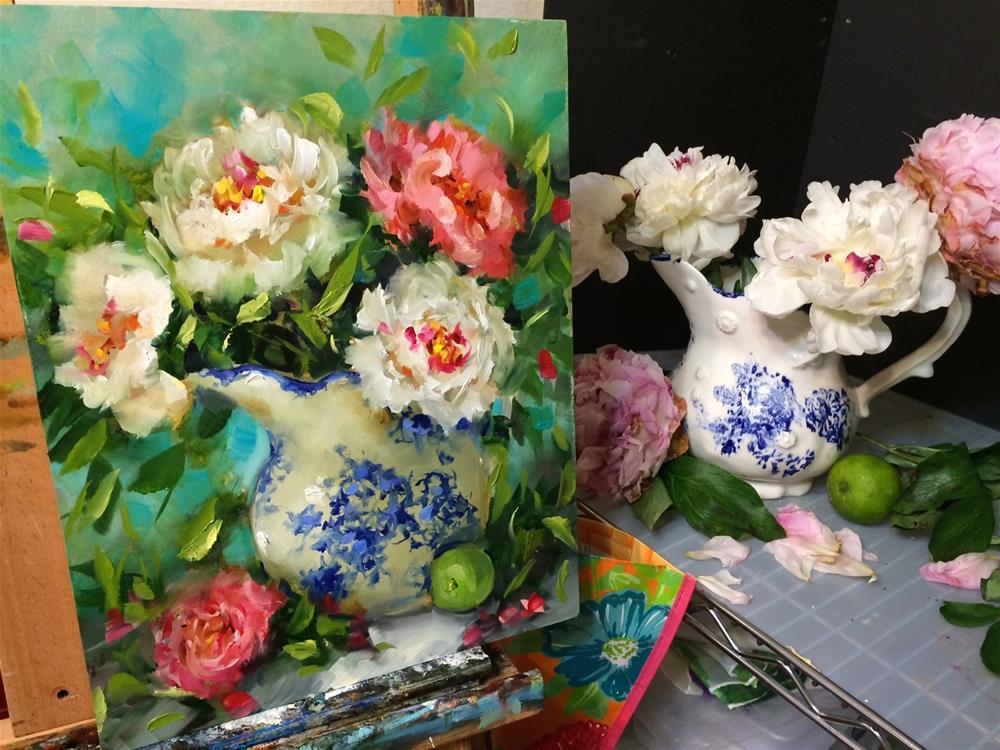 """Spring Rhapsody Peonies"" original fine art by Nancy Medina"